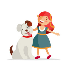 Cute girl with a dog are smiling and hugging vector