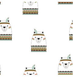 cute pattern with tribal bear vector image