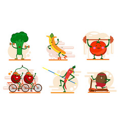 Cute smiling fruits and berry characters involved vector