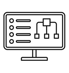 Diagram monitor icon outline style vector