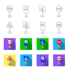 Different types of road signs outlineflet icons vector