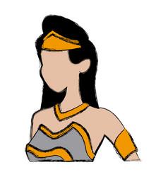 Female warrior with tiara suit halloween people vector
