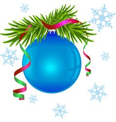 Fir branch and blue Christmas ball vector