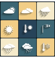Flat design style weather icons set vector image