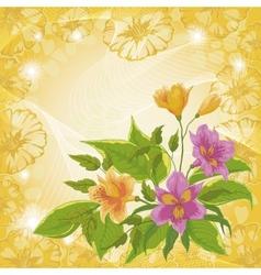 Flowers alstroemeria and ipomoea contours vector