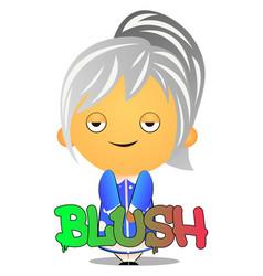 grandma blushing on white background vector image