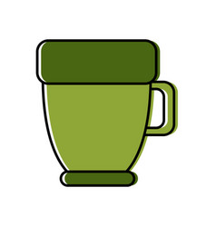 green coffee cup porcelain object handle icon vector image