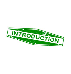 Grunge green introduction word hexagon rubber vector
