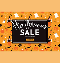 halloween sale with witch pumpkin broom ghost vector image