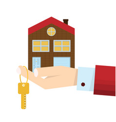 Hand male agent with home in palm and gold key on vector