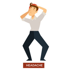Headache sunstroke symptom isolated male character vector