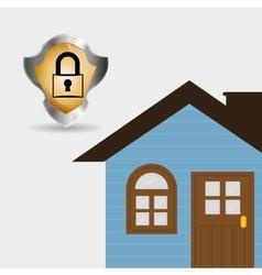 home security silver shield padlock vector image