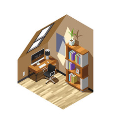 home workplace isometric composition vector image