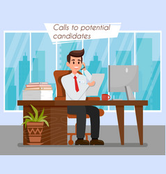 Hr manager at workplace color vector