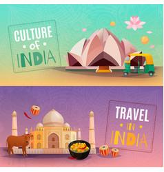 India horizontal banners vector