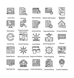line icons set of internet and digital marketing vector image