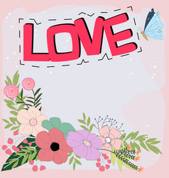 Love word doodle cartoon in pastel colorful vector