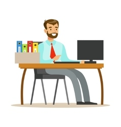 Man Working At His Desk With Computer And Folders vector image