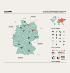 Map germany high detailed country vector