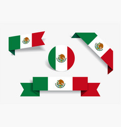 mexican flag stickers and labels vector image
