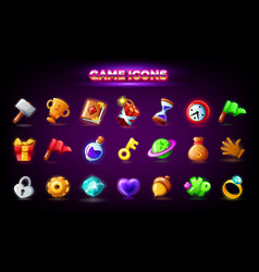 mobile game icons set isolated on dark background vector image