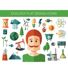 Modern flat design conceptual ecological icons and vector image