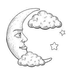 Moon with face engraving style vector