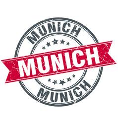 Munich red round grunge vintage ribbon stamp vector