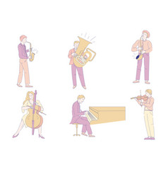 musicians and musical instruments orchestra music vector image