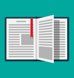 open book with an upside down page and bookmark vector image