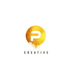 p gold letter logo design with round circular vector image