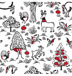 Pattern with russian folklore vector