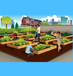 People doing community gardening vector