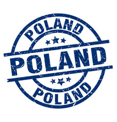 Poland blue round grunge stamp vector