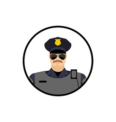 Police avatar cop in uniform head policeman vector