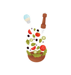 Pour salt pepper herbs olives tomatoes vector