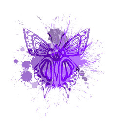 purple butterfly vector image