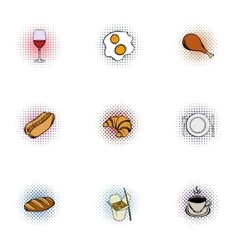 Quick snack icons set pop-art style vector image