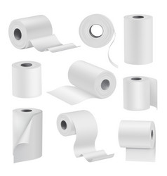 realistic toilet paper in rolls white set vector image