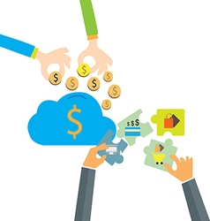 Saving money to cloud-computing businessman man vector