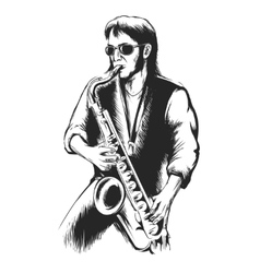 Saxophonist or saxophone player vector