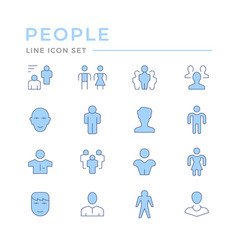 set color line icons people vector image