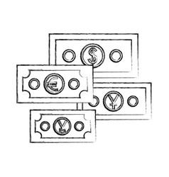 set international bills isolated icon vector image