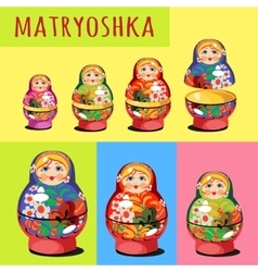 Set matryoshka russian folk toy vector