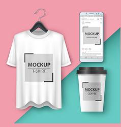 set mockup t-shirt smartphone cup coffe tea vector image