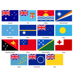 Set of all flags of the countries of oceania vector