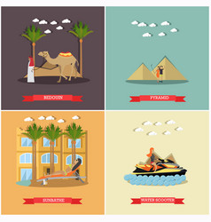 Set of vacation in egypt concept flat vector