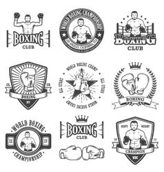 set vintage boxing emblems vector image