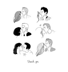 Set with a couple kissing young man and woman vector