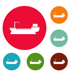 ship freight icons circle set vector image